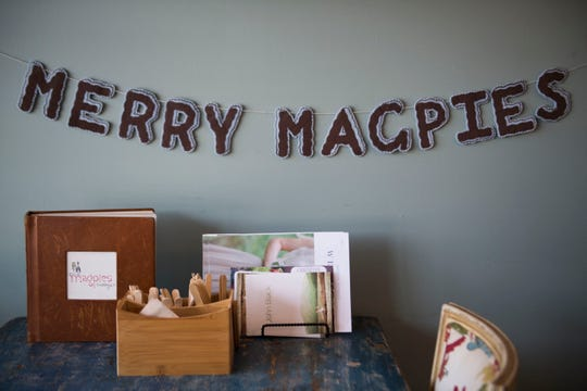 Decor hangs in Magpies Bakery, located on North Central Street.