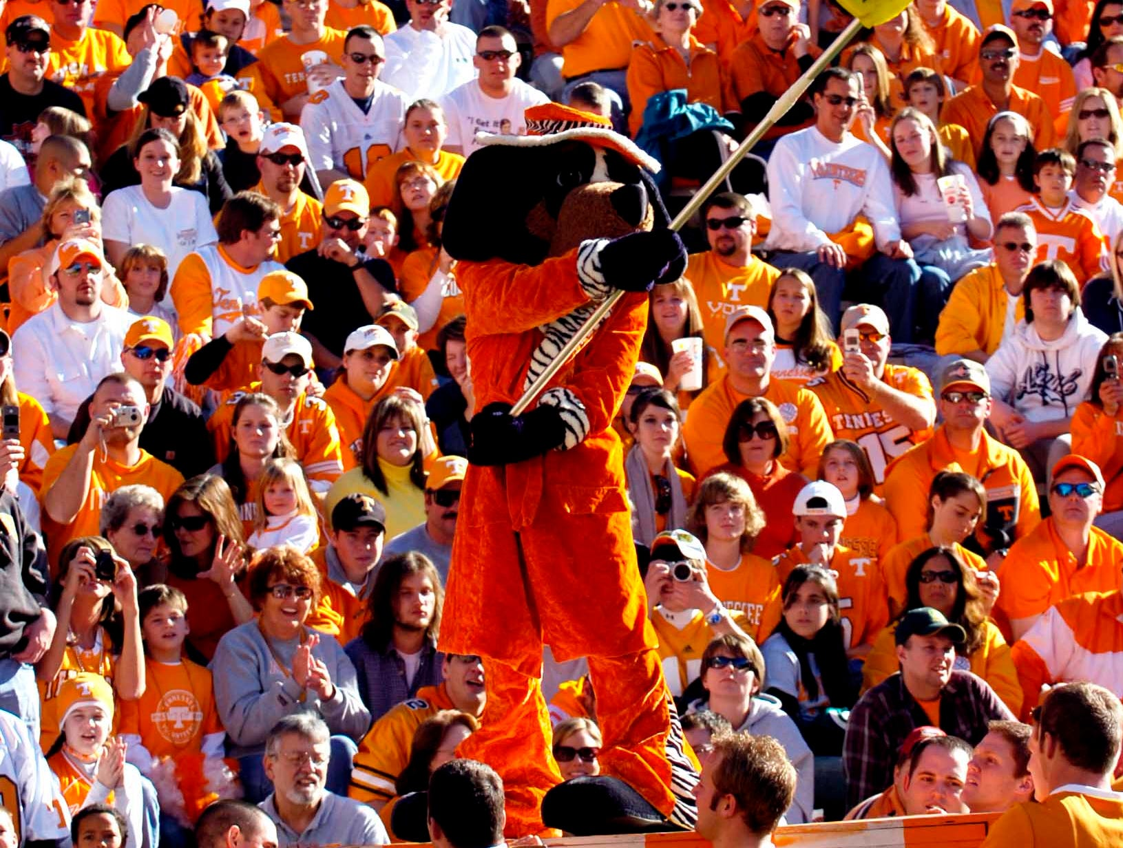 Smokey campaigns for the Capital One Mascot of the Year title during the Kentucky game Saturday at Neyland Stadium.    