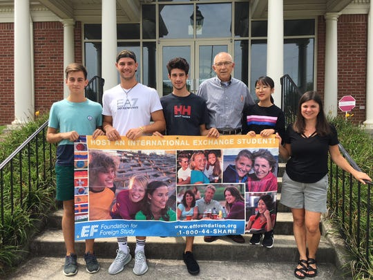 """The 2018-2019 EF Exchange students, shown with their coordinators. From left are Javier Garaizabal, Marc Scherer, Marc Caceres, Lendelle Clark, Wooju """"Bella"""" Le and international coordinator Christina Adams. August 25, 2018."""