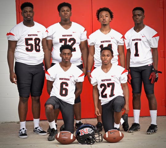 Northside's offensive standouts include Kirk Dunn (6), TK Isadore (27), Jaquail Lee (58), Angelo Boudreaux (72), Jacory Charles (14) and K'Shaun Zeno (1).