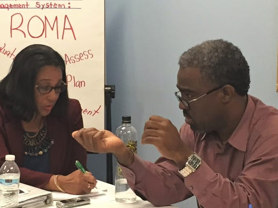 SMILE board president Marlon Lewis during an Aug. 27, 2018, meeting.