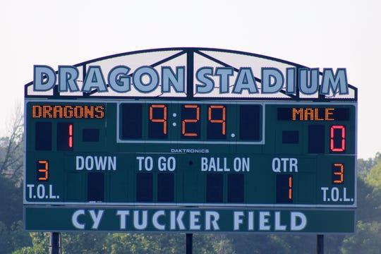 An addition to the scoreboard at South Oldham High School recognizes Cy Tucker Field.