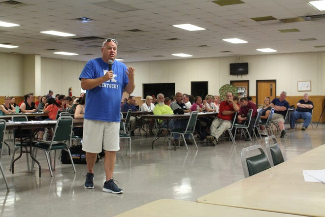 Madison parent Jayson Stone speaks during a two-hour town hall meeting at the Eastbrook Center on Monday, Aug. 27, 2018. The town hall was for Madison parents and community members to discuss their concerns with the Madison Local School District.