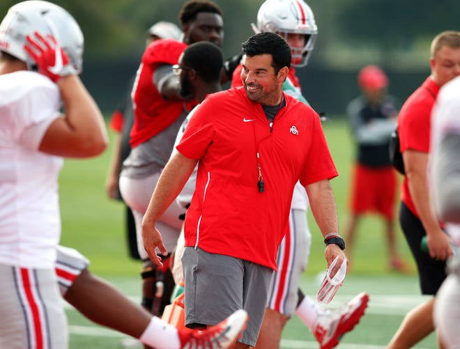 Interim Ohio State head coach Ryan Day leads football practice on Aug. 18.