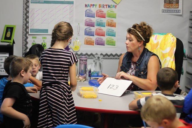 Angie Marshall, who teaches second grade at Ridgedale Elementary, interacts with students inside her classroom on Tuesday. The building is not air conditioned, but district officials say they have plans in place to keep students cools as temperatures climb.