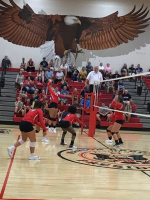 Marion Harding senior Mia Tinnerello goes up for a hit as the Presidents beat Bucyrus 25-19, 25-17, 25-23 in a non-league volleyball match Monday night. Taylor Keeran had 20 kills, Faith Reid had 21 digs, Whitney Starner had nine kills and 17 assists, and Kerrington Reed had 17 assists for the Presidents.