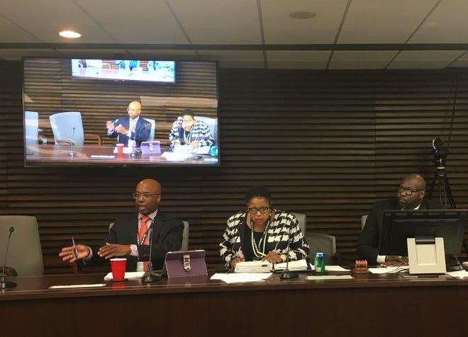 Memphis City Council members discuss security measures on Beale Street during an Aug. 28 committee meeting. From left: Martavius Jones, Jamita Swearengen and Berlin Boyd.