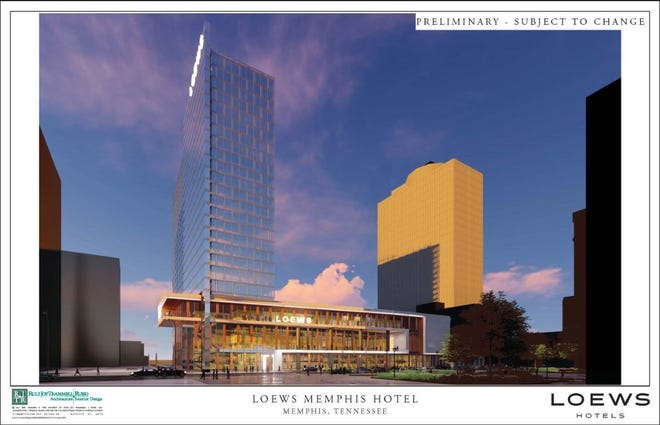 Another image of the proposed Loews Memphis Hotel. The image was among those released in August 2018.