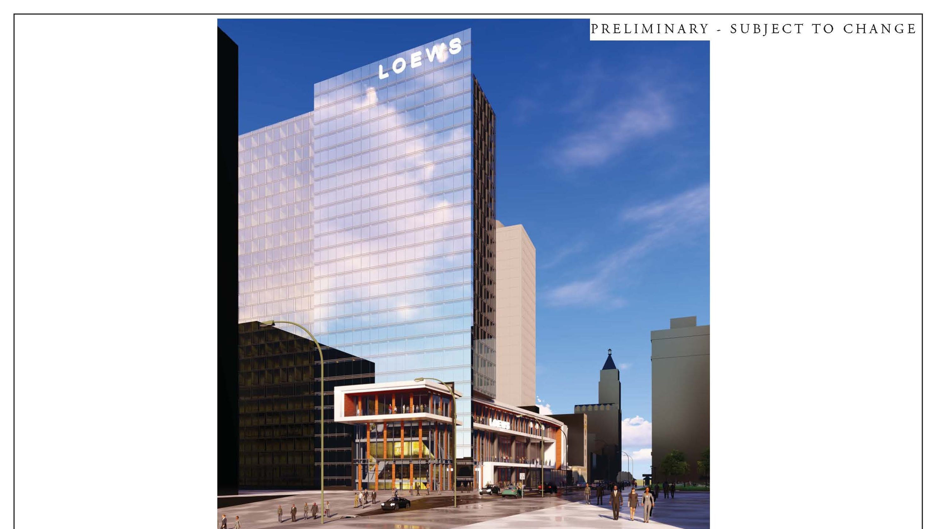 memphis new loews convention hotel would look sleek and modern