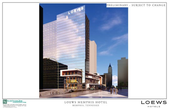 Loews Hotels released renderings of its proposed Memphis convention hotel on Tuesday. The 26-story glass tower would rise next to the 100 North Main skyscraper. This rendering looks south on Main.