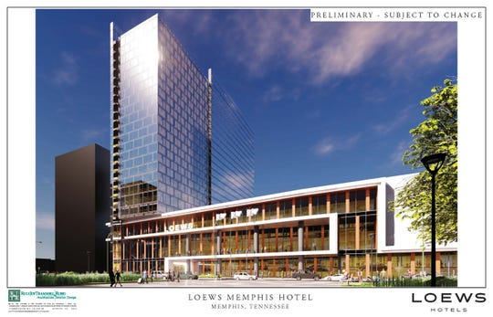 Loews Hotel Corp. showed preliminary drawings of the proposed convention hotel in Downtown Memphis.