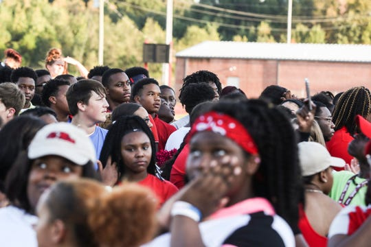 August 27 2018 - Classmates, teammates, friends and family gathered to release balloons in honor of Dennis Mitchell at the Byhalia High School football field. Mitchell,Êa sophomore football player, collapsed on the field and died Friday night during a game.