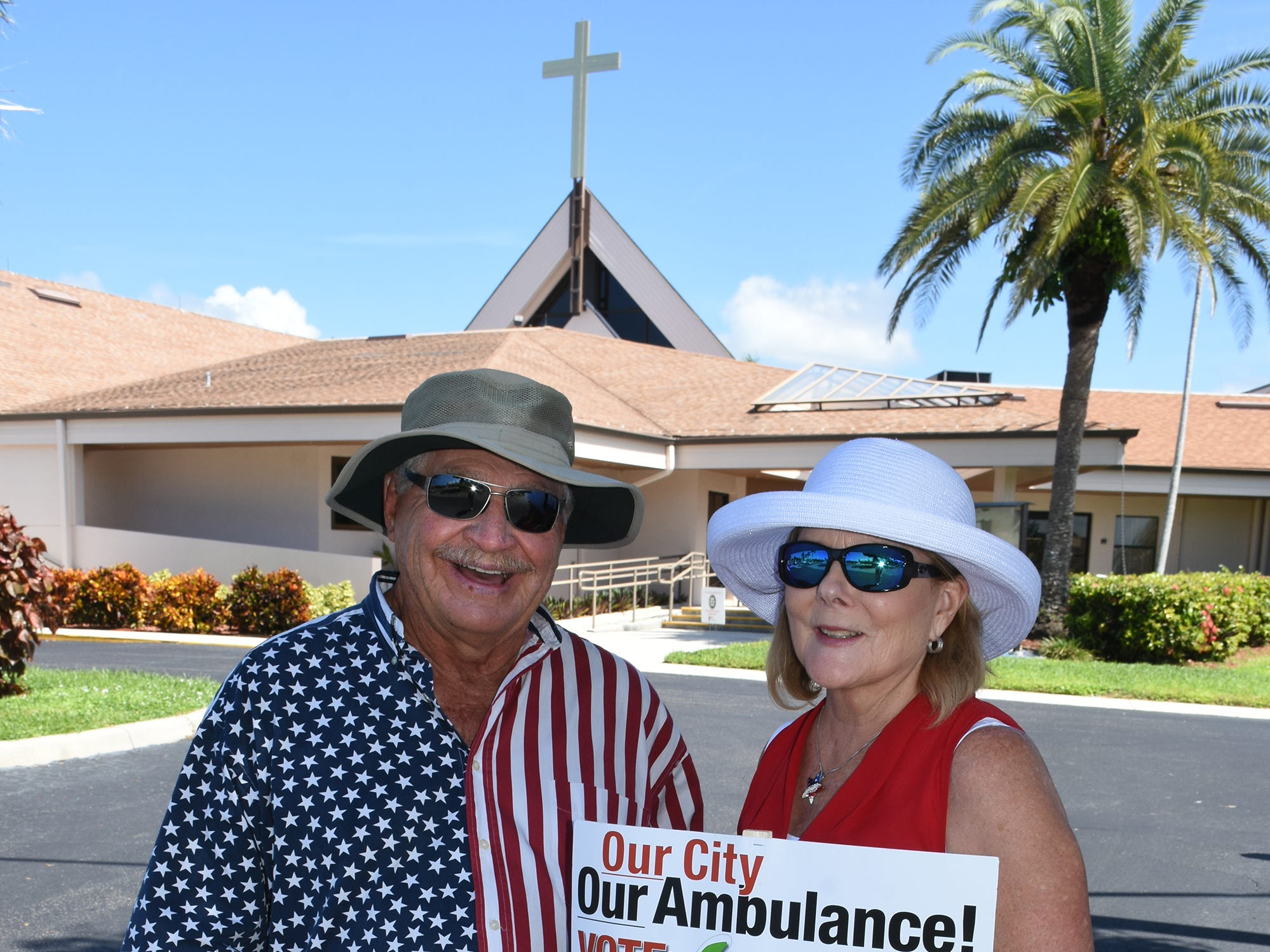 "Jerry Swiacki and Linda Turner pushing for ""yes"" ambulance votes on Tuesday at Marco Lutheran Church. Marco Island voters went to the polls Tuesday, if they hadn't already voted, to decide if Marco would proceed with its own independent ambulance service."