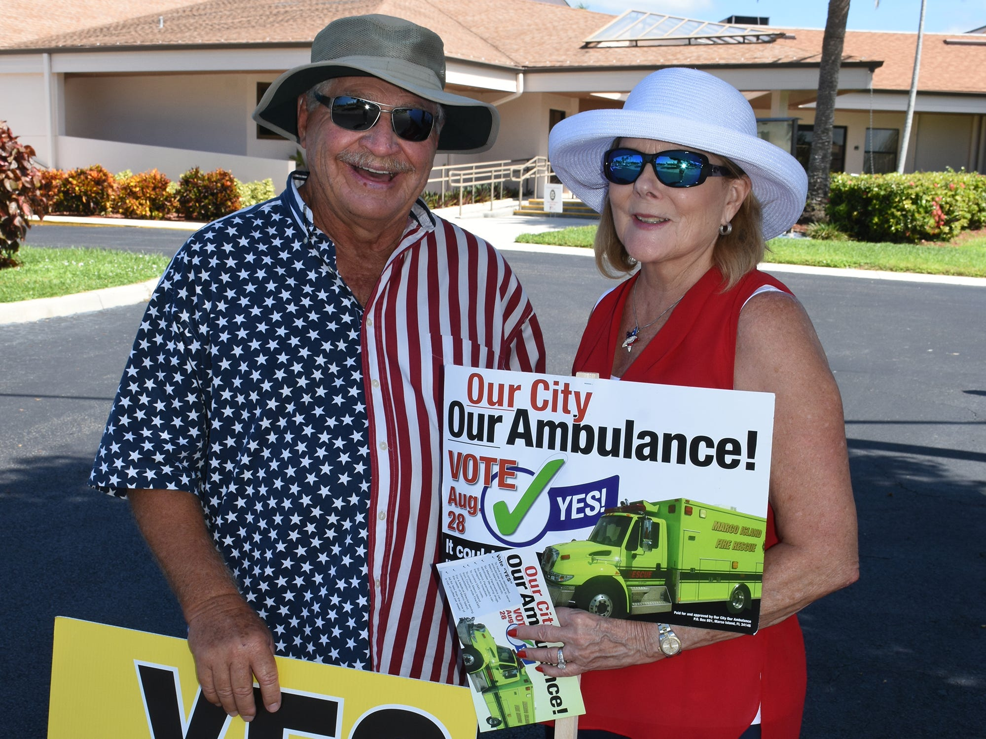 """Jerry Swiacki and Linda Turner were pushing for """"yes"""" ambulance votes on primary election day, Tuesday, Aug. 28, 2018, at Marco Lutheran Church."""