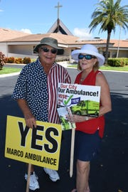 "Jerry Swiacki and Linda Turner were pushing for ""yes"" ambulance votes on primary election day, Tuesday, Aug. 28, 2018, at Marco Lutheran Church."