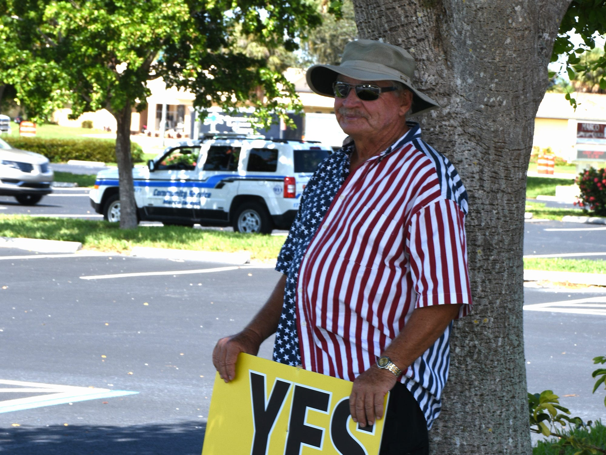 "Jerry Swiacki pushing for ""yes"" ambulance votes on Tuesday at Marco Lutheran Church. Marco Island voters went to the polls Tuesday, if they hadn't already voted, to decide if Marco would proceed with its own independent ambulance service."
