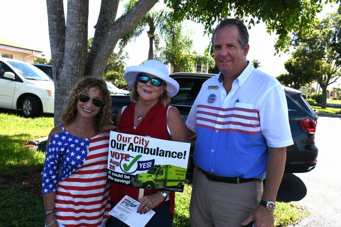 "Judy Sacher, left, and Linda Turner, pushing for ""yes"" ambulance votes, are joined by Congressional candidate Todd Truax at Marco Lutheran Church. Marco Island voters went to the polls Tuesday, if they hadn't already voted, to decide whether Marco Island would proceed with its own independent ambulance service."