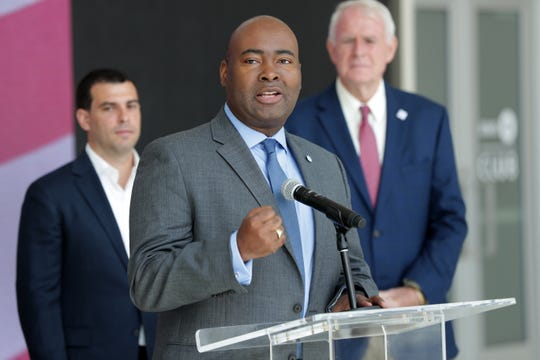 Jaime Harrison, DNC associate chair speaks as the Milwaukee 2020 Convention Bid Committee held a press conference Tuesday, August 28, 2018, at the Fiserv Forum Atrium to preview the Democratic National Committee's site visit to the city as they consider where the 2020 Democratic National Convention should be held. The DNC's Technical Advisory Group is visiting the three finalist cities—  Milwaukee, Houston, and Miami—for the political convention slated to be held July 13-16, 2020. Milwaukee's bid has bipartisan support; the convention is estimated to bring some 50,000 visitors to the city and have a $200 million economic impact.  -  Photo by Mike De Sisti / Milwaukee Journal Sentinel