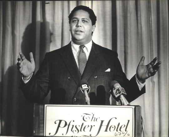 "Atlanta Mayor Maynard Jackson, shown in a 1982 photo taken at Milwaukee's Pfister Hotel, is the subject of a new documentary, ""Maynard."""