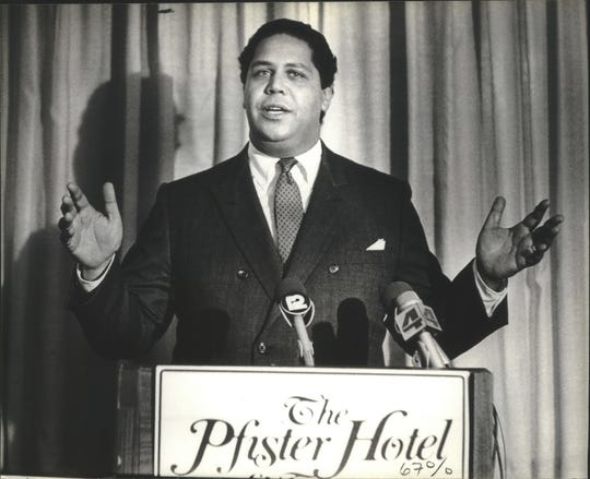 "Atlanta Mayor Maynard Jackson, shown in a 1982 photo taken at Milwaukee's Pfister Hotel, is the subject of a new documentary, ""Maynard."""