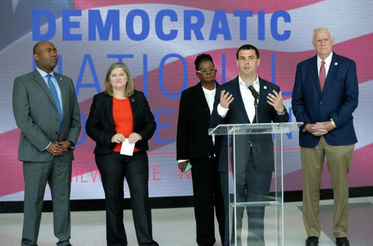 Alex Lasry, chairman of the Milwaukee 2020 DNC Convention Bid Committee, speaks as the committee held a news conference Aug. 28, 2018, at the Fiserv Forum Atrium to preview the Democratic National Committee's site visit to the city.