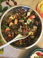 This NuttyWild Rice Salad has dried cranberries, apples and an orange vinaigrette.