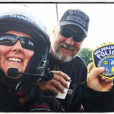 ebd2df01f68 Milwaukee Police Department motorcycle officer Bill Ritch deputizes  photographer Mandi Wright on the Ride Home from
