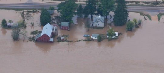 Homes are submerged in Vernon County between Chaseburg and Coon Valley.
