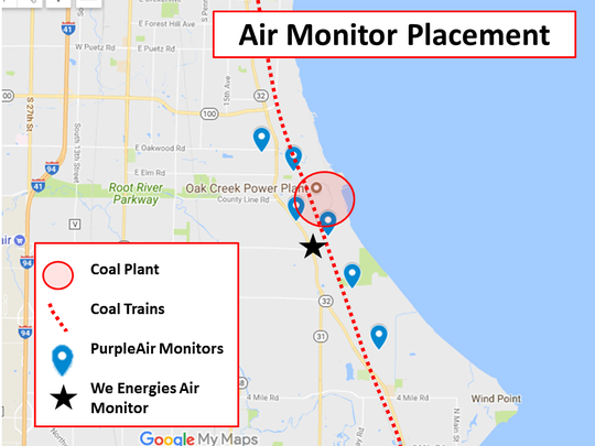 This graphic shows the placement of the resident-purchased air quality monitors. A seventh monitor will be installed but the location is still undecided.