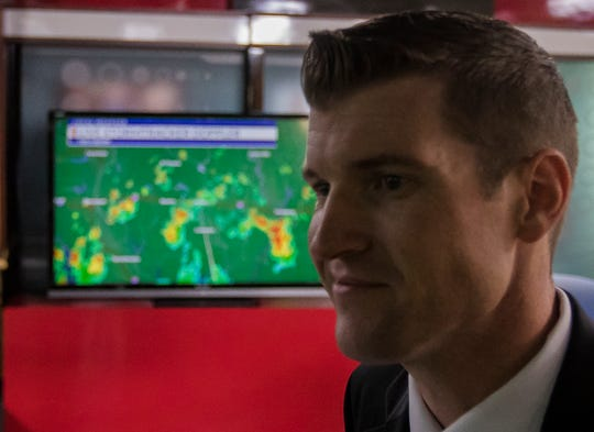 """Chief meteorologist at KTVE/KARD Jarod Floyd stands in front a of doppler radar scan from the new system after the radar ribbon cutting ceremony in the broadcast news station's studio in West Monroe on August 28. """"This is now the number one tool in community safety in terms weather,"""" Floyd said. The new radar also helps the station to communicate with the National Weather Service which will hopefully improve the warning process and saves lives, Floyd said. """"It should give us a lot more advance notice on warnings,"""" he said. The project took about three years to complete, according to KTVE/KARD general manager Randy Stone."""