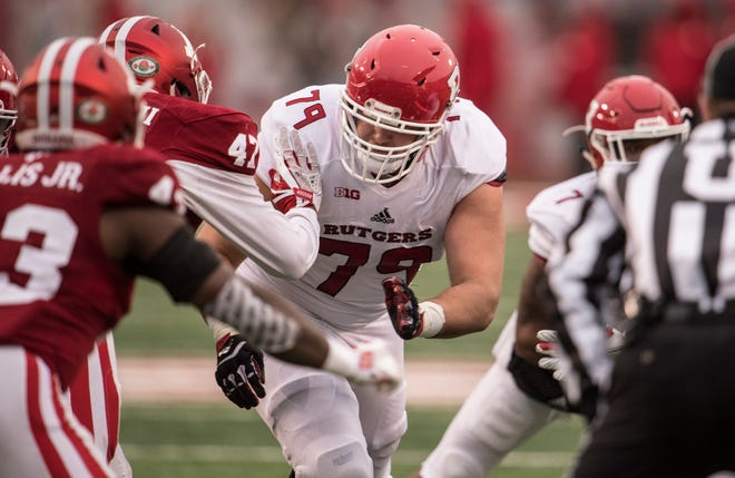 Rutgers senior lineman Zack Heeman of Mount Olive plays on the road against Indiana on Saturday November 18, 2017. (Ben Solomon/Rutgers Athletics)