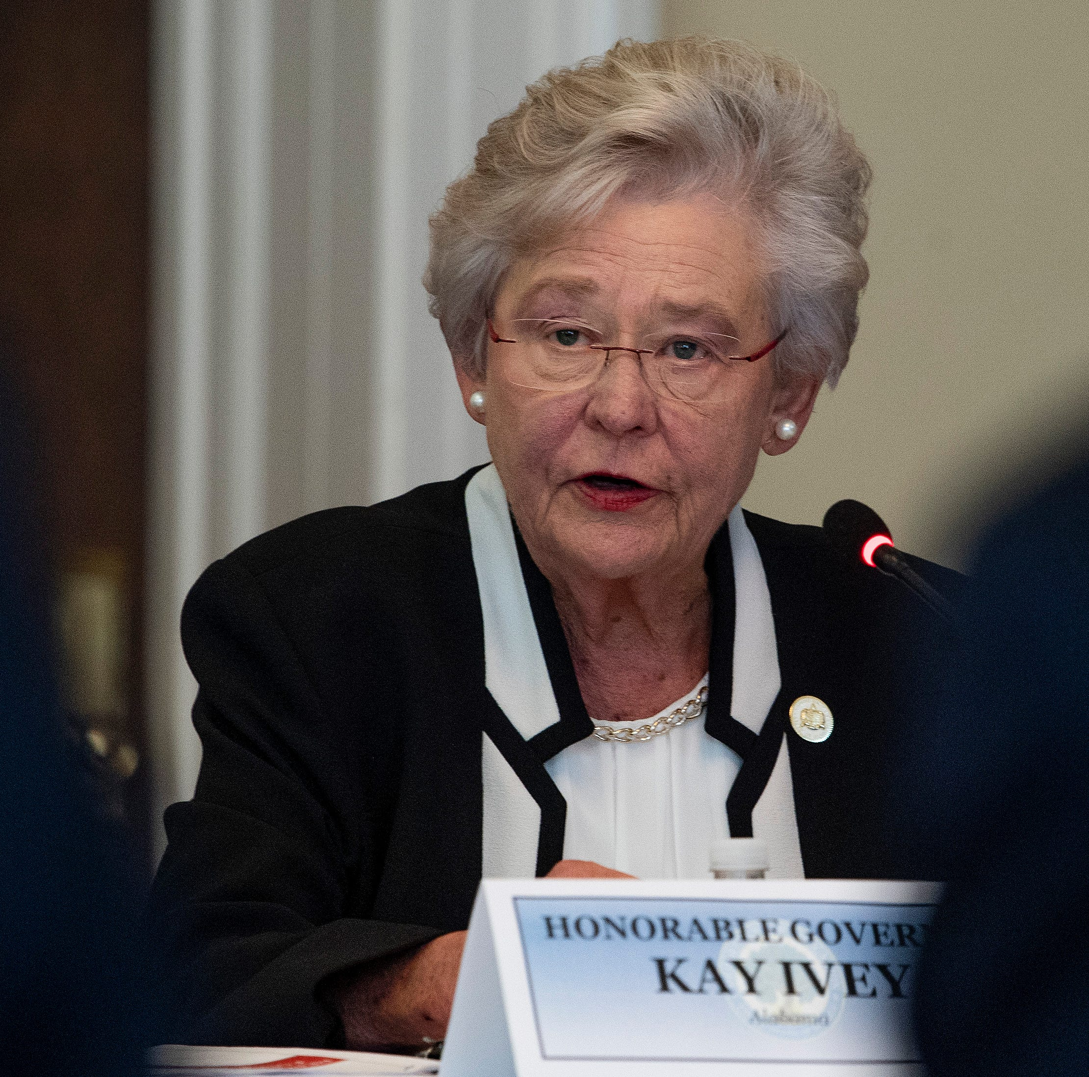 Alabama Governor Kay Ivey speaks as the Federal Commission on School Safety meets with local leaders during a roundtable in the state capitol building in Montgomery, Ala., on Tuesday August 28, 2018.