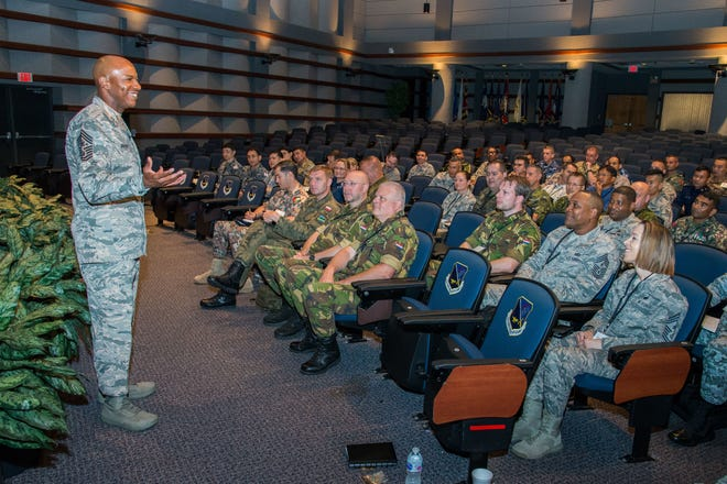 Maxwell AFB, Ala. - Maxwell AFB, Ala. - Chief Master Sergeant of the Air Force Kaleth O. Wright welcomes his counterparts from 35 partner nations to the Senior Enlisted Leader International Summit at the Air Force NonCommissioned Officer Academy