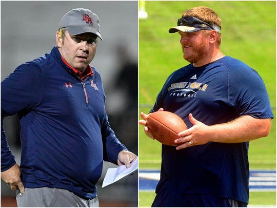 Brentwood Academy coach Cody White (left) and Pope John Paul II coach Justin Geisinger (right)