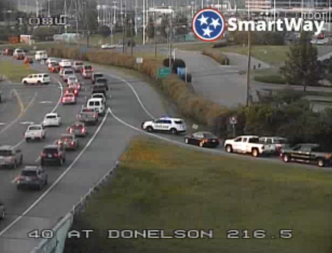A multiple vehicle crash is causing delays at the Interstate 40 off-ramp at Donelson Pike early Tuesday morning, Aug. 28, 2018