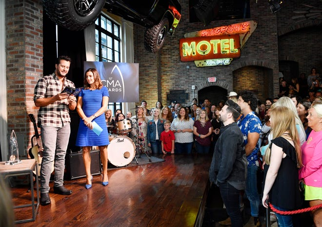 Luke Bryan and ABC's Paula Faris kick off the  2018 CMA nominations announcement event Tuesday, Aug. 28, 2018, at Luke's 32 Bridge Food and Drink in downtown Nashville, Tenn.