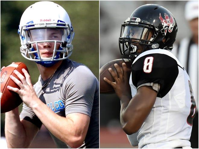 Giles County quarterback Bryce Wallace (left) and Pearl-Cohn quarterback Xavier Shepherd (right)