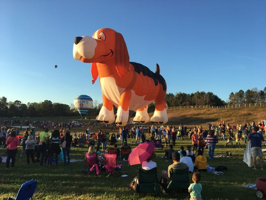 Kids and adults alike get a kick out of the special balloon shapes that take to the sky in the Carolina BalloonFest.