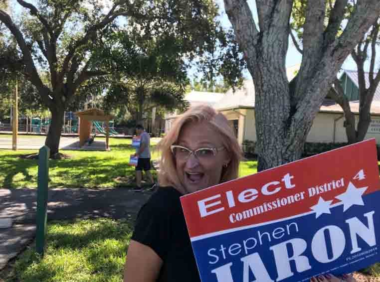Amanda Jaron campaigs for husband, Stephen Jaron, for District 4 CC seat, at East Naples Center.