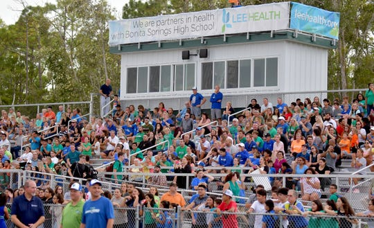 The Bonita Springs Bull Sharks played their first home game in the high school's new Lee Health Stadium on Thursday, Aug. 23, 2018.