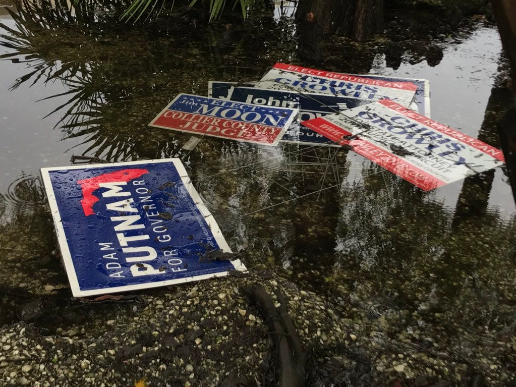 Looks like this afternoon's storm blew over some campaign signs  Aug. 28, 2018 at St. John Episcopal Church.