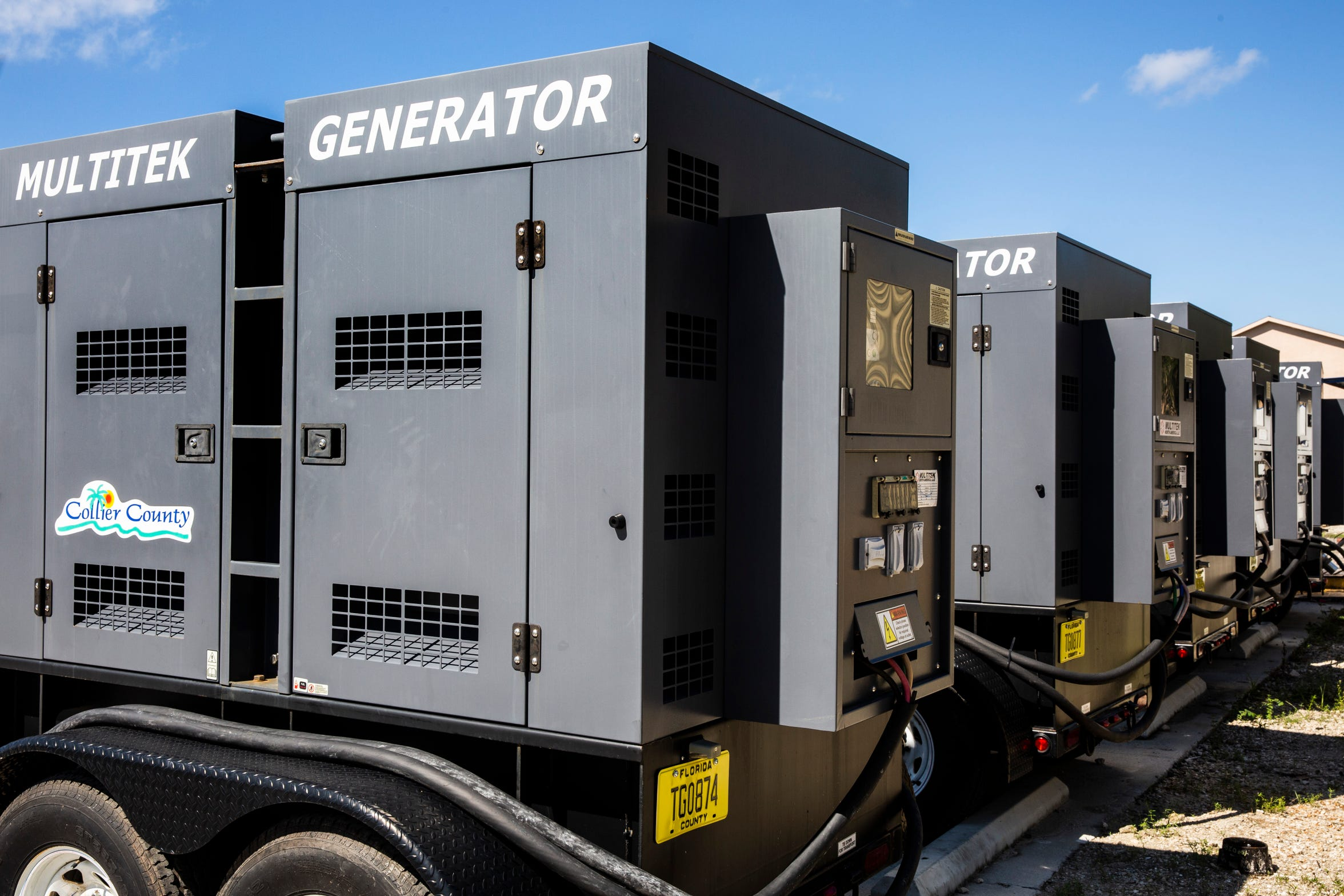 New portable generators sit at Collier County Utilities' Wastewater Division Collections Section work yard in Naples on Tuesday, Aug. 28, 2018. Most Collier and Lee utilities have added backup power sources to avoid sewage leaks like they experienced after Hurricane Irma.
