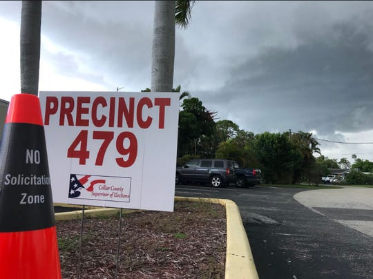 A look at Precinct 479 moments before a storm rolled in. Voters sat in their cars waiting for the rain to stop on Aug. 28, 2018.