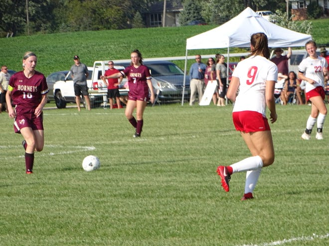 Licking Heights senior Samantha Flanagan moves the ball upfield Aug. 27 during a match against Bishop Rosecrans.