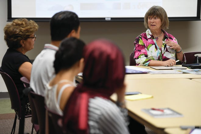 Marleen Grabowsky leads an ESL class on Tuesday, July 24, 2018.
