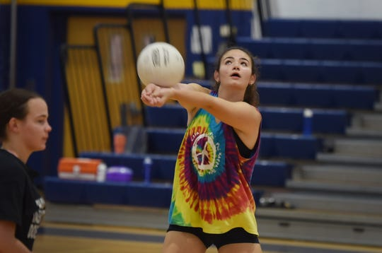 Pequannock's Grace Casapulla receives the ball during volleyball practice at Pequannock High School in Pompton Plains on 08/27/18.