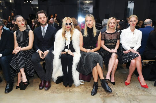NEW YORK, NY - FEBRUARY 13:  (L-R) Emmy Rossum, Derek Blasberg, Rachel Zoe, Karolína Kurkova, Christina Ricci and Nicky Hilton Rothschild attend Carolina Herrera Collection during New York Fashion Week on February 13, 2017 in New York City.  (Photo by Ben Gabbe/Getty Images)