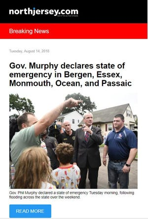 A recent NorthJersey.com breaking news newsletter.