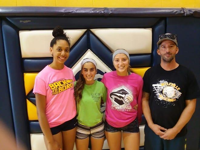 Belleville girls volleyball: (from left) captains Natalia Peralta, Fiorella Samaniego, Cheryl Ann Nicosia and coach John Spina.