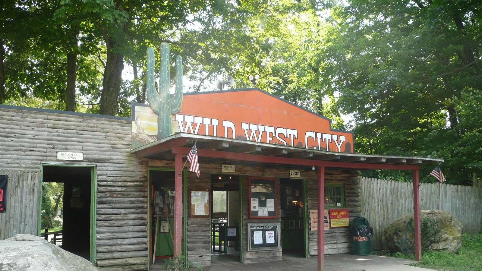 The entrance to Byram, N.J. theme park Wild West City basks in the afternoon sun on Aug. 15, 2018.